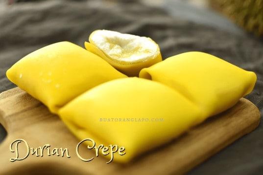 resepi durian crepe yang sedap dan berkrim